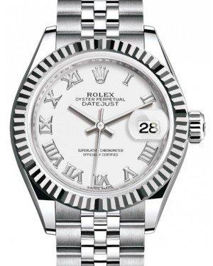 Rolex Lady Datejust 28 White Gold/Steel White Roman Dial & Fluted Bezel Jubilee Bracelet 279174 - Fresh