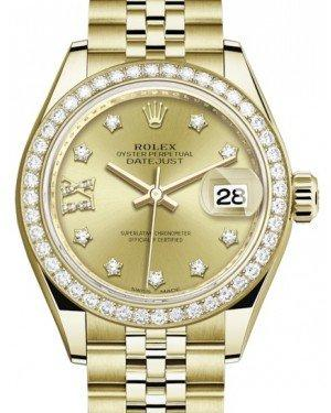 Rolex Lady Datejust 28 Yellow Gold Champagne Diamond IX Dial & Diamond Bezel Jubilee Bracelet 279138RBR - Fresh