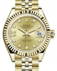 Rolex Lady Datejust 28 Yellow Gold Champagne Diamond IX Dial & Fluted Bezel Jubilee Bracelet 279178 - Fresh