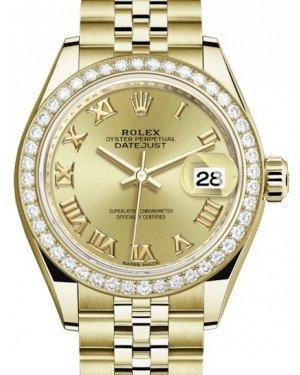Rolex Lady Datejust 28 Yellow Gold Champagne Roman Dial & Diamond Bezel Jubilee Bracelet 279138RBR - Fresh