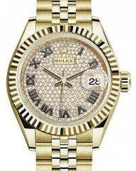 Rolex Lady Datejust 28 Yellow Gold Diamond Paved Roman Dial & Fluted Bezel Jubilee Bracelet 279178 - Fresh