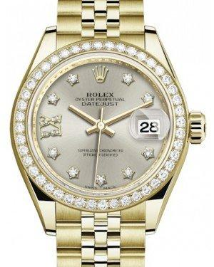 Rolex Lady Datejust 28 Yellow Gold Silver Diamond IX Dial & Diamond Bezel Jubilee Bracelet 279138RBR - Fresh