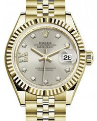 Rolex Lady Datejust 28 Yellow Gold Silver Diamond IX Dial & Fluted Bezel Jubilee Bracelet 279178 - Fresh