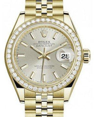 Rolex Lady Datejust 28 Yellow Gold Silver Index Dial & Diamond Bezel Jubilee Bracelet 279138RBR - Fresh