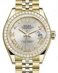 Rolex Lady Datejust 28 Yellow Gold Silver Roman Dial & Diamond Bezel Jubilee Bracelet 279138RBR - Fresh