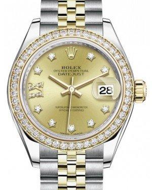 Rolex Lady Datejust 28 Yellow Gold/Steel Champagne Diamond IX Dial & Diamond Bezel Jubilee Bracelet 279383RBR - Fresh