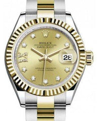 Rolex Lady Datejust 28 Yellow Gold/Steel Champagne Diamond IX Dial & Fluted Bezel Oyster Bracelet 279173 - Fresh