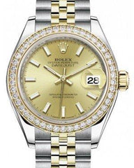 Rolex Lady Datejust 28 Yellow Gold/Steel Champagne Index Dial & Diamond Bezel Jubilee Bracelet 279383RBR - Fresh