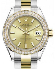 Rolex Lady Datejust 28 Yellow Gold/Steel Champagne Index Dial & Diamond Bezel Oyster Bracelet 279383RBR - Fresh