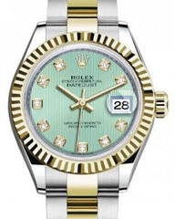 Rolex Lady Datejust 28 Yellow Gold/Steel Mint Green Diamond Dial & Fluted Bezel Oyster Bracelet 279173 - Fresh
