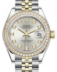 Rolex Lady Datejust 28 Yellow Gold/Steel Silver Diamond Dial & Diamond Bezel Jubilee Bracelet 279383RBR - Fresh