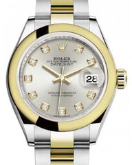 Rolex Lady Datejust 28 Yellow Gold/Steel Silver Diamond Dial & Smooth Domed Bezel Oyster Bracelet 279163 - Fresh