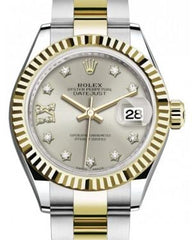 Rolex Lady Datejust 28 Yellow Gold/Steel Silver Diamond IX Dial & Fluted Bezel Oyster Bracelet 279173 - Fresh
