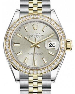 Rolex Lady Datejust 28 Yellow Gold/Steel Silver Index Dial & Diamond Bezel Jubilee Bracelet 279383RBR - Fresh