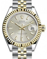 Rolex Lady Datejust 28 Yellow Gold/Steel Silver Index Dial & Fluted Bezel Jubilee Bracelet 279173 - Fresh
