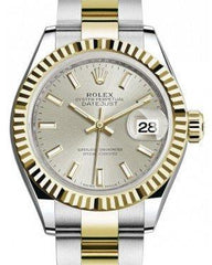 Rolex Lady Datejust 28 Yellow Gold/Steel Silver Index Dial & Fluted Bezel Oyster Bracelet 279173 - Fresh