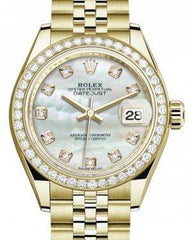 Rolex Lady Datejust 28 Yellow Gold White Mother of Pearl Diamond Dial & Diamond Bezel Jubilee Bracelet 279138RBR - Fresh