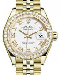 Rolex Lady Datejust 28 Yellow Gold White Roman Dial & Diamond Bezel Jubilee Bracelet 279138RBR - Fresh