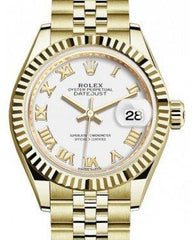 Rolex Lady Datejust 28 Yellow Gold White Roman Dial & Fluted Bezel Jubilee Bracelet 279178 - Fresh
