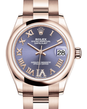 Rolex Lady-Datejust 31 Rose Gold Aubergine Roman Diamond VI Dial & Smooth Domed Bezel Oyster Bracelet 278245 - Fresh
