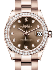 Rolex Lady-Datejust 31 Rose Gold Chocolate Diamond Dial & Diamond Bezel Oyster Bracelet 278285RBR - Fresh