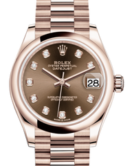Rolex Lady-Datejust 31 Rose Gold Chocolate Diamond Dial & Smooth Domed Bezel President Bracelet 278245 - Fresh