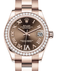 Rolex Lady-Datejust 31 Rose Gold Chocolate Roman Diamond VI Dial & Diamond Bezel Oyster Bracelet 278285RBR - Fresh
