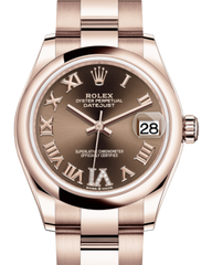 Rolex Lady-Datejust 31 Rose Gold Chocolate Roman Diamond VI Dial & Smooth Domed Bezel Oyster Bracelet 278245 - Fresh