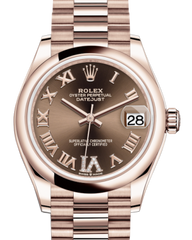 Rolex Lady-Datejust 31 Rose Gold Chocolate Roman Diamond VI Dial & Smooth Domed Bezel President Bracelet 278245 - Fresh