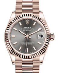 Rolex Lady-Datejust 31 Rose Gold Rhodium Index Dial & Fluted Bezel President Bracelet 278275 - Fresh