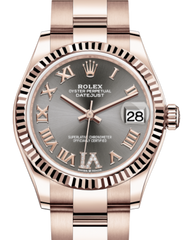 Rolex Lady-Datejust 31 Rose Gold Rhodium Roman Diamond VI Dial & Fluted Bezel Oyster Bracelet 278275 - Fresh