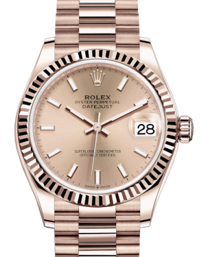 Rolex Lady-Datejust 31 Rose Gold Rose Index Dial & Fluted Bezel President Bracelet 278275 - Fresh