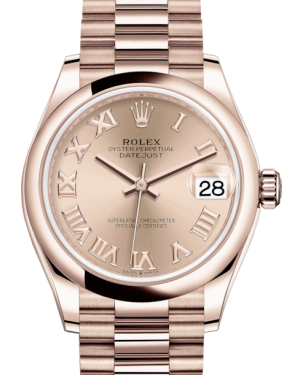 Rolex Lady-Datejust 31 Rose Gold Rose Roman Dial & Smooth Domed Bezel President Bracelet 278245 - Fresh