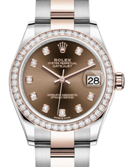 Rolex Lady-Datejust 31 Rose Gold/Steel Chocolate Diamond Dial & Diamond Bezel Oyster Bracelet 278381RBR - Fresh