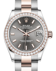 Rolex Lady-Datejust 31 Rose Gold/Steel Rhodium Index Dial & Diamond Bezel Oyster Bracelet 278381RBR - Fresh