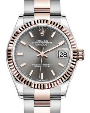 Rolex Lady-Datejust 31 Rose Gold/Steel Rhodium Index Dial & Fluted Bezel Oyster Bracelet 278271 - Fresh - NY WATCH LAB