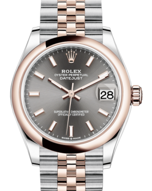 Rolex Lady-Datejust 31 Rose Gold/Steel Rhodium Index Dial & Smooth Domed Bezel Jubilee Bracelet 278241 - Fresh
