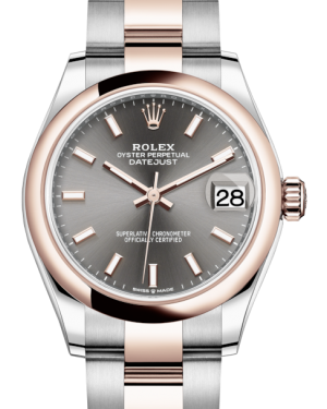 Rolex Lady-Datejust 31 Rose Gold/Steel Rhodium Index Dial & Smooth Domed Bezel Oyster Bracelet 278241 - Fresh - NY WATCH LAB