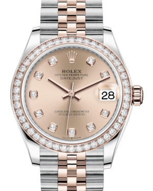 Rolex Lady-Datejust 31 Rose Gold/Steel Rose Diamond Dial & Diamond Bezel Jubilee Bracelet 278381RBR - Fresh