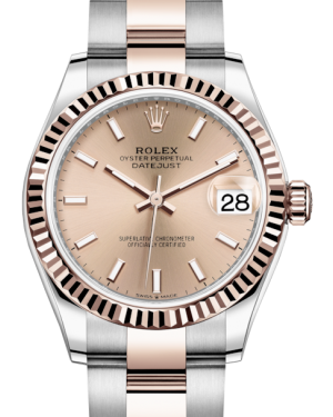 Rolex Lady-Datejust 31 Rose Gold/Steel Rose Index Dial & Fluted Bezel Oyster Bracelet 278271 - Fresh - NY WATCH LAB