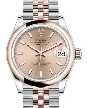 Rolex Lady-Datejust 31 Rose Gold/Steel Rose Index Dial & Smooth Domed Bezel Jubilee Bracelet 278241 - Fresh - NY WATCH LAB