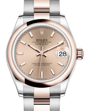 Rolex Lady-Datejust 31 Rose Gold/Steel Rose Index Dial & Smooth Domed Bezel Oyster Bracelet 278241 - Fresh - NY WATCH LAB