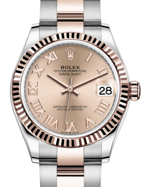 Rolex Lady-Datejust 31 Rose Gold/Steel Rose Roman Dial & Fluted Bezel Oyster Bracelet 278271 - Fresh - NY WATCH LAB
