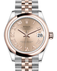 Rolex Lady-Datejust 31 Rose Gold/Steel Rose Roman Dial & Smooth Domed Bezel Jubilee Bracelet 278241 - Fresh