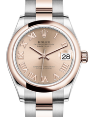 Rolex Lady-Datejust 31 Rose Gold/Steel Rose Roman Dial & Smooth Domed Bezel Oyster Bracelet 278241 - Fresh