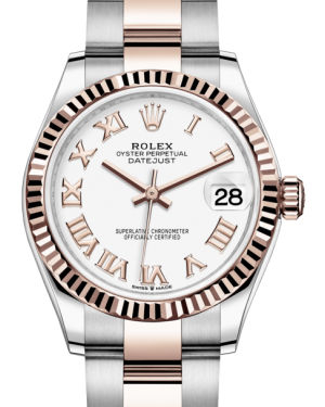Rolex Lady-Datejust 31 Rose Gold/Steel White Roman Dial & Fluted Bezel Oyster Bracelet 278271 - Fresh - NY WATCH LAB