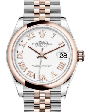 Rolex Lady-Datejust 31 Rose Gold/Steel White Roman Dial & Smooth Domed Bezel Jubilee Bracelet 278241 - Fresh - NY WATCH LAB