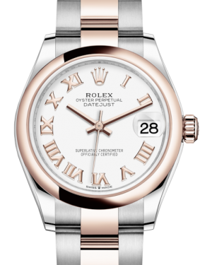 Rolex Lady-Datejust 31 Rose Gold/Steel White Roman Dial & Smooth Domed Bezel Oyster Bracelet 278241 - Fresh - NY WATCH LAB