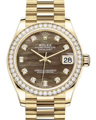 Rolex Lady-Datejust 31 Yellow Gold Black Mother of Pearl Diamond Dial & Diamond Bezel President Bracelet 278288RBR - Fresh