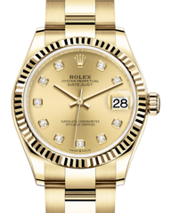 Rolex Lady-Datejust 31 Yellow Gold Champagne Diamond Dial & Fluted Bezel Oyster Bracelet 278278 - Fresh